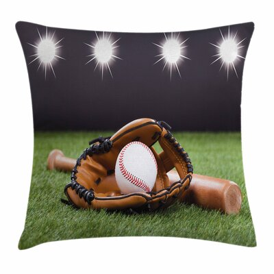 Bat and Glove Square Pillow Cover Size: 24 x 24
