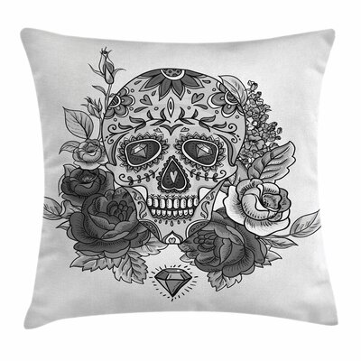 Sugar Skull Roses Diamond Shape Square Pillow Cover Size: 18 x 18