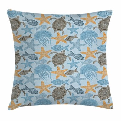 Starfish Decor Ethnic Motifs Square Pillow Cover Size: 16 x 16