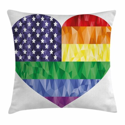Heart Gay Flag Rainbow Art Square Pillow Cover Size: 16 x 16