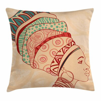 African Woman Female Turban Square Pillow Cover Size: 18 x 18