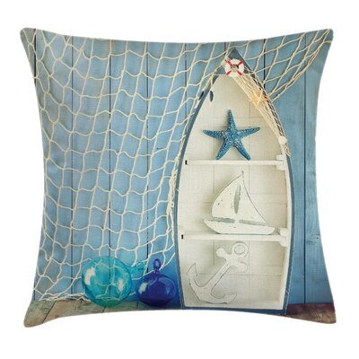 Nautical Marine Icons Starfish Square Pillow Cover Size: 20 x 20