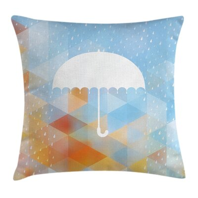 Umbrella Rain Autumn Art Square Pillow Cover Size: 16 x 16