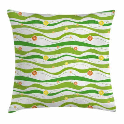Colorful Wavy Bands Square Pillow Cover Size: 18 x 18