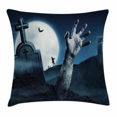Zombie Decor Dead Person Arm Square Pillow Cover Size: 18 x 18