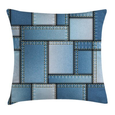 Denim Patchwork Pattern Square Pillow Cover Size: 20 x 20