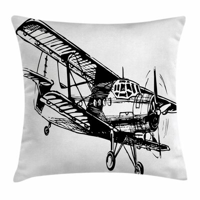 Vintage Airplane Sketch Art Square Pillow Cover Size: 16