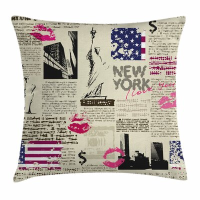 United States NYC Newspaper Square Pillow Cover Size: 16 x 16