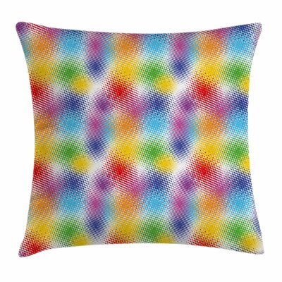 Retro Colorful Dots Halftone Square Pillow Cover Size: 18 x 18