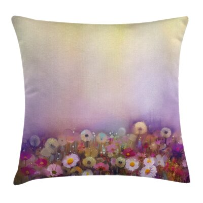 Romantic Flower Bouquet Square Pillow Cover Size: 18 x 18