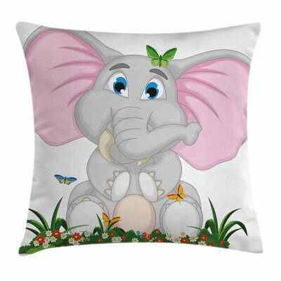 Elephant Garden Daisies Square Pillow Cover Size: 18 x 18