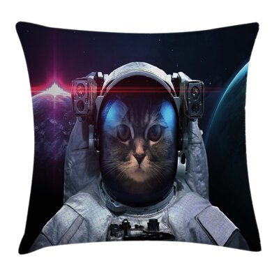 Space Cat Galaxy Cosmos Nebula Square Pillow Cover Size: 20 x 20