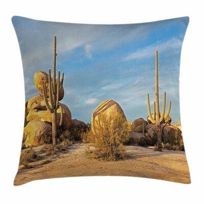 Cactus Saguaros Boulders Square Pillow Cover Size: 18 x 18