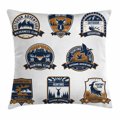 Shield Icons Set Square Pillow Cover Size: 16