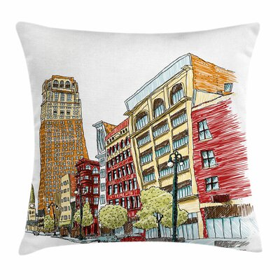 Detroit Decor Woodward Avenue Square Pillow Cover Size: 18 x 18