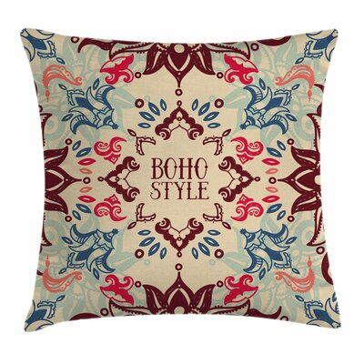Flower Ornate Floral Ethnic Square Pillow Cover Size: 18 x 18