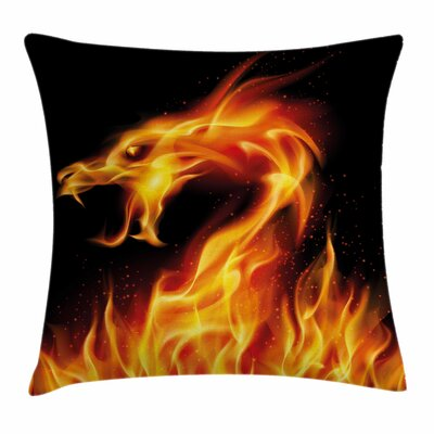 Dragon Abstract Fiery Creature Square Pillow Cover Size: 16 x 16