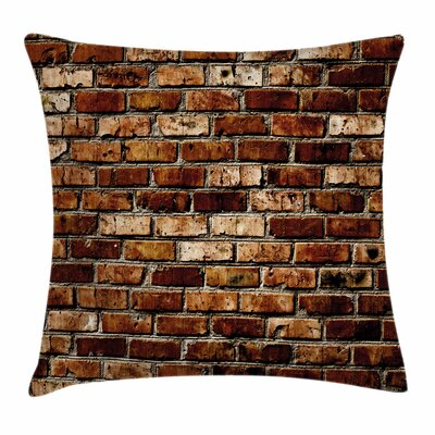 Old Grunge Brick Wall Square Pillow Cover Size: 20 x 20