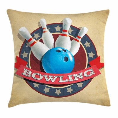 Bowling Party Vintage Emblem Square Pillow Cover Size: 16 x 16