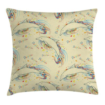 Ocean Life Swimming Dolphins Square Pillow Cover Size: 24 x 24