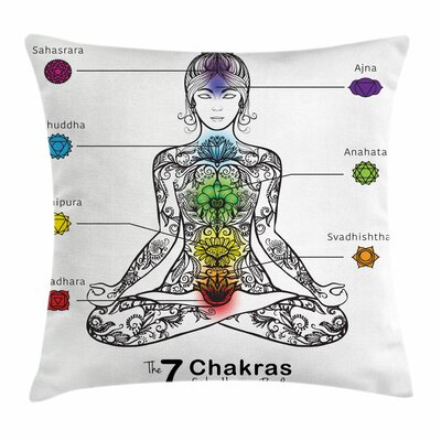 Yoga Seven Chakra Signs Ornate Square Pillow Cover Size: 20 x 20