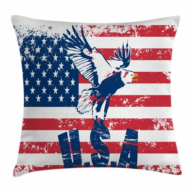 United States American Flag Square Pillow Cover Size: 18 x 18