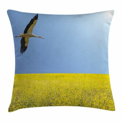 Stork Flying Square Pillow Cover Size: 18 x 18