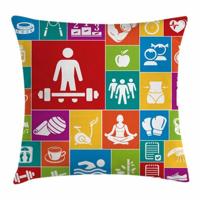 Fitness Colorful Icons Health Square Pillow Cover Size: 24 x 24