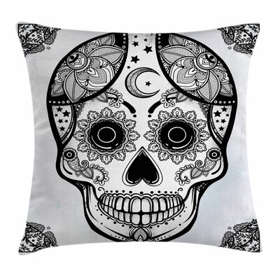 Sugar Skull Hispanic Art Mascot Square Pillow Cover Size: 16 x 16
