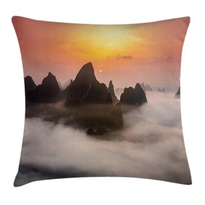 Nature Mist Clouds Mountain Square Pillow Cover Size: 24 x 24