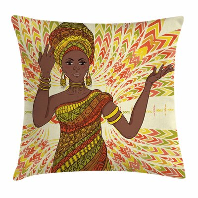 African Woman Dancing Woman Square Pillow Cover Size: 24 x 24