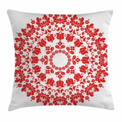 Hungarian Folk Art Square Pillow Cover Size: 18 x 18