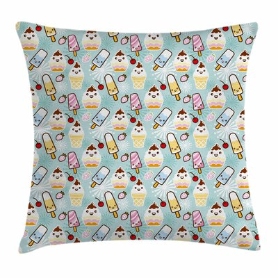 Ice Cream Cupcake Faces Square Pillow Cover Size: 24 x 24