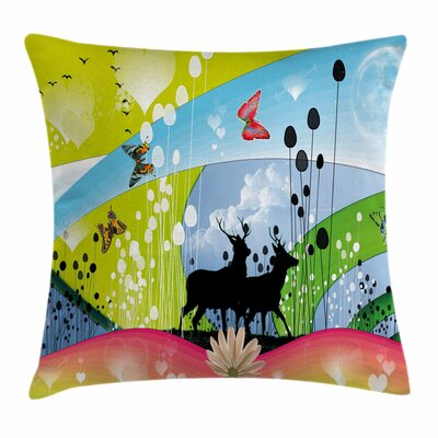Two Reindeer in Spring Square Pillow Cover Size: 16 x 16