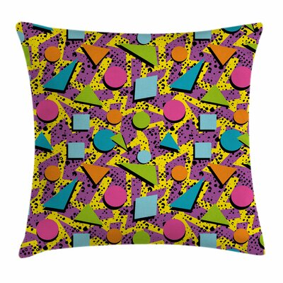 Funky Geometric Style Square Pillow Cover Size: 16 x 16
