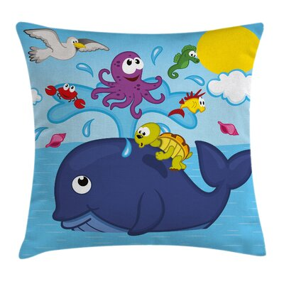Marine Animals Square Pillow Cover Size: 16 x 16