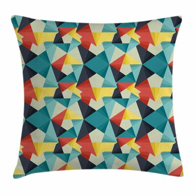 Abstract Colorful Fractal Artsy Square Pillow Cover Size: 24