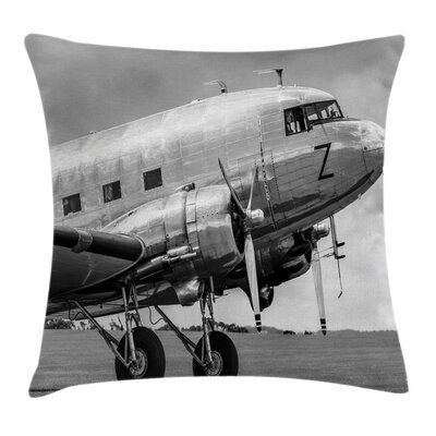 Vintage Airplane Old Airliner Square Pillow Cover Size: 16 x 16