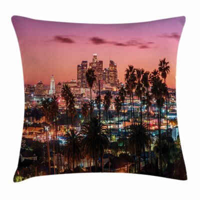 United States Los Angeles Palms Square Pillow Cover Size: 18 x 18