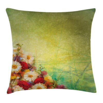 Romantic Flower Bouquet Square Pillow Cover Size: 24 x 24