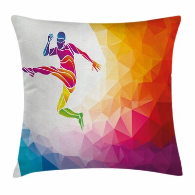 Teen Room Decor Ball Hit Soccer Square Pillow Cover Size: 18 x 18