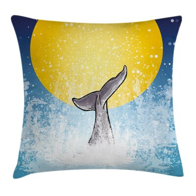 Whale Fish Tail Ocean Full Moon Square Pillow Cover Size: 16 x 16