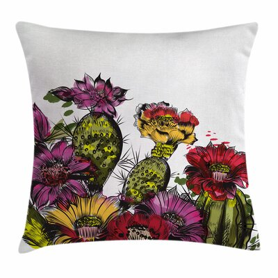 Cactus Potted Plant Bloom Square Pillow Cover Size: 18 x 18