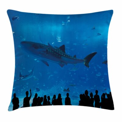 Shark Aquarium Park and People Square Pillow Cover Size: 18 x 18