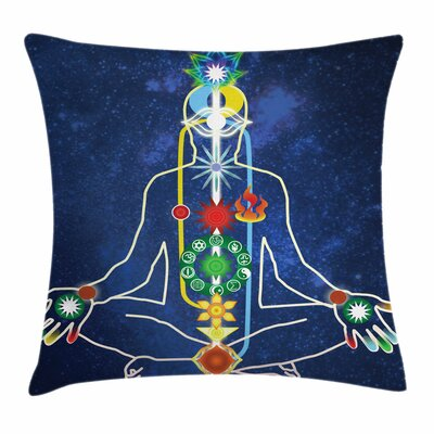 Yoga Scheme Power Body Person Square Pillow Cover Size: 16 x 16