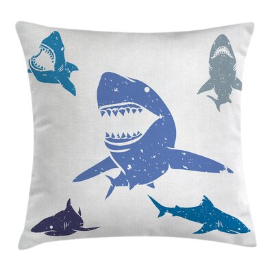 Grunge Sharks Wildlife Square Pillow Cover Size: 16 x 16