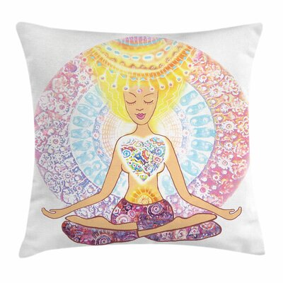 Yoga Woman Pillow Cover Size: 16