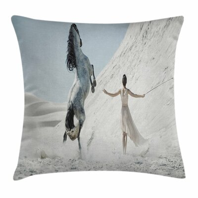Horse Lady with Horse Square Pillow Cover Size: 18 x 18