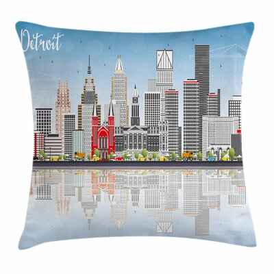 Detroit Decor Cityscape Skyline Square Pillow Cover Size: 24 x 24