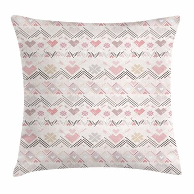Pastel Aztec Hearts Geometric Square Pillow Cover Size: 16 x 16